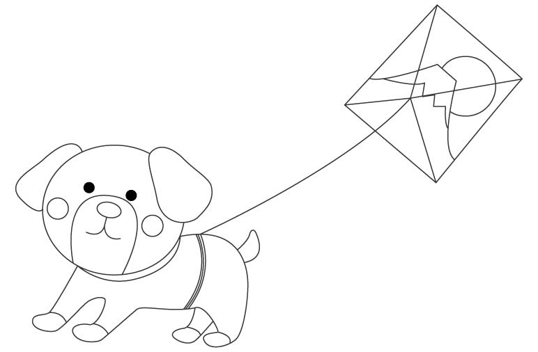犬と凧あげのぬりえ