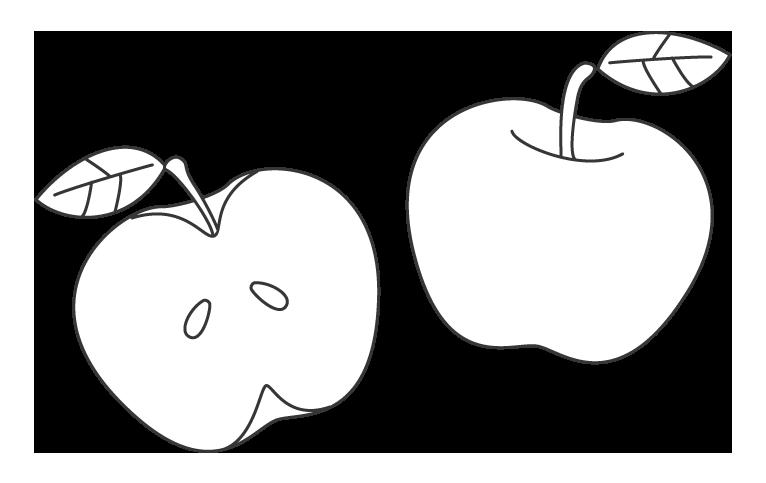 りんごのぬりえイラスト