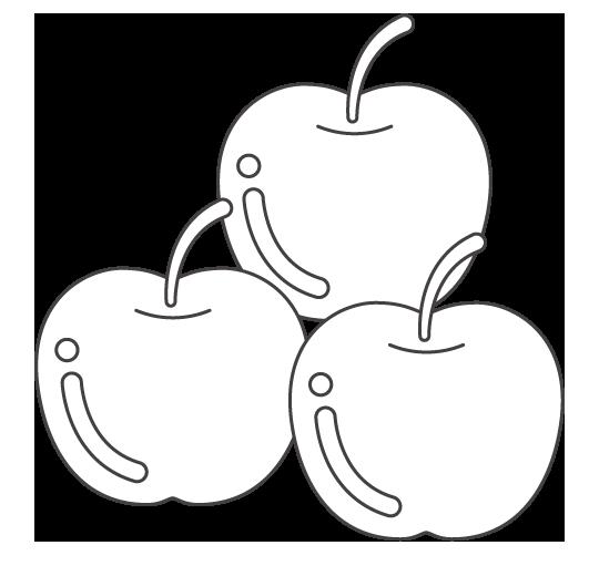 たくさんの林檎のぬりえイラスト