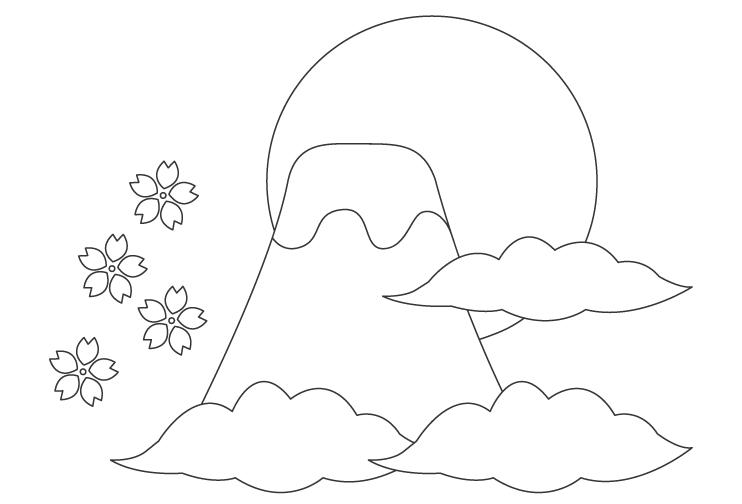富士山と日の出のぬりえ