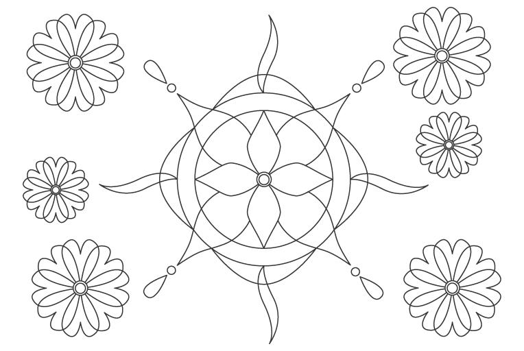 丸などの曲線の模様・パターンのぬりえ