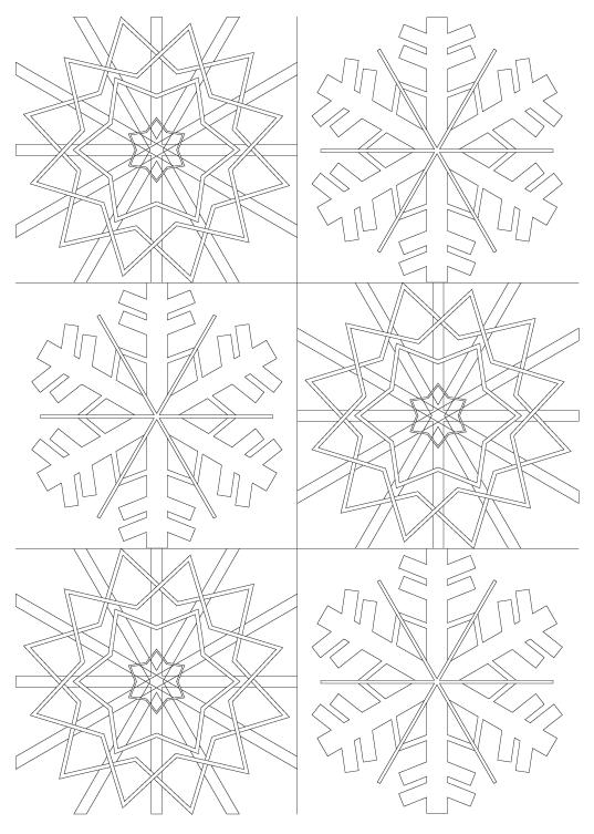 雪の結晶の模様パターンぬりえ