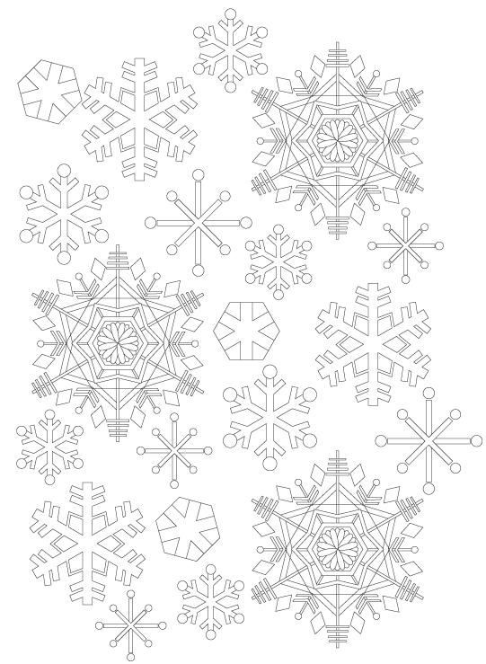 雪の結晶の模様パターンぬりえ02
