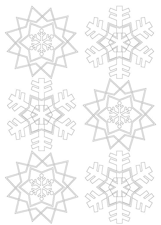 雪の結晶の模様パターンぬりえ03