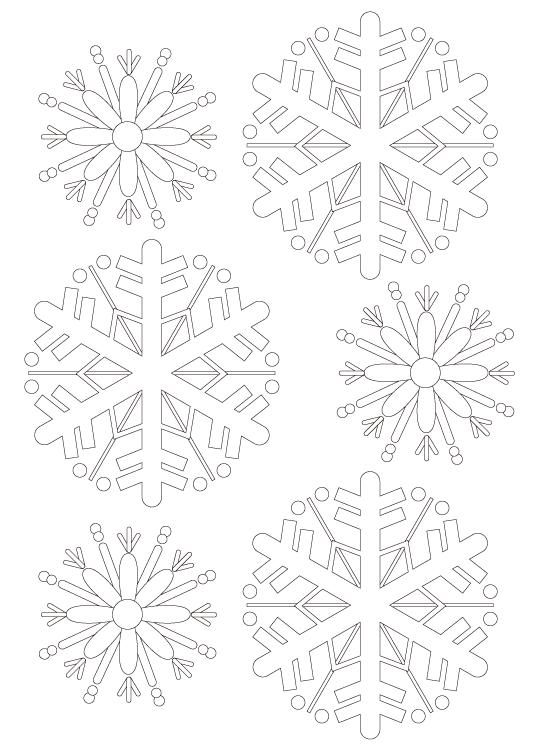 雪の結晶の模様パターンぬりえ04