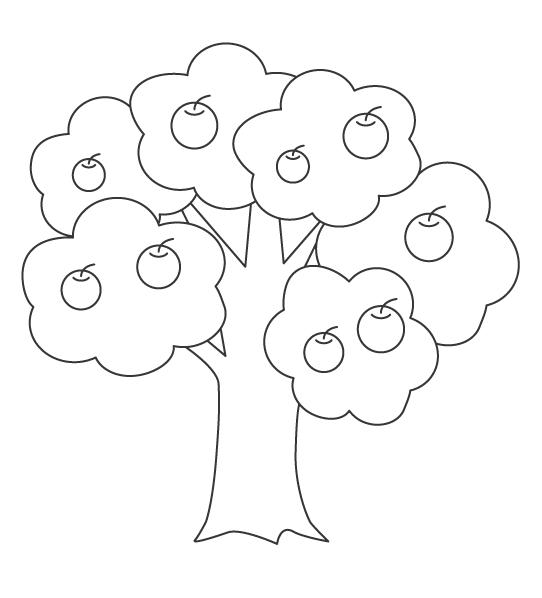 りんごの木のぬりえ