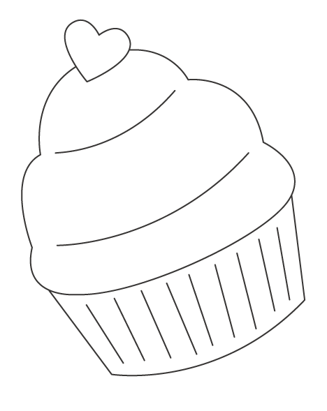 カップケーキのぬりえ