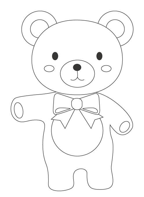 かわいいクマのぬりえ