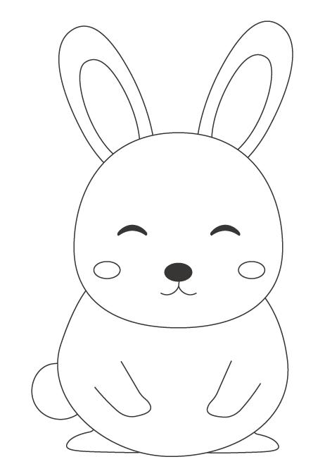 かわいいウサギのぬりえ