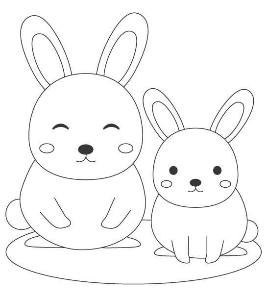 ウサギの親子のぬりえ