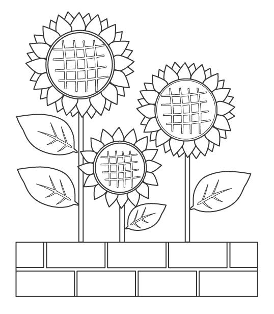 花壇に咲いた向日葵(ひまわり)のぬりえ