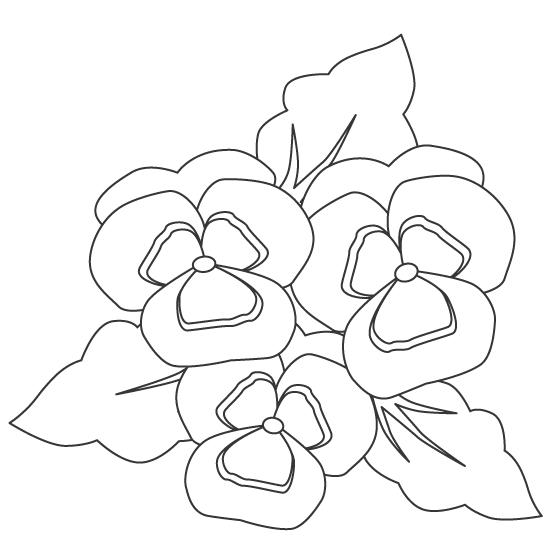 花・パンジーのぬりえ