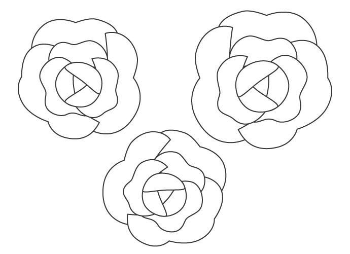 薔薇(バラ)の花のぬりえ