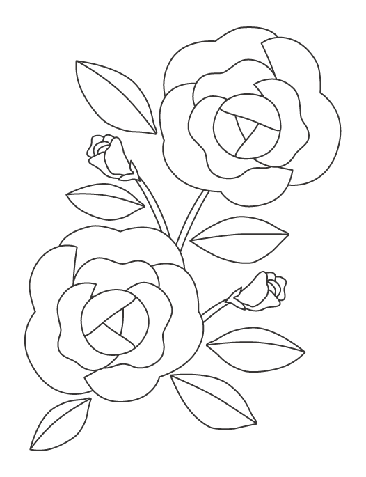 薔薇(バラ)のぬりえ