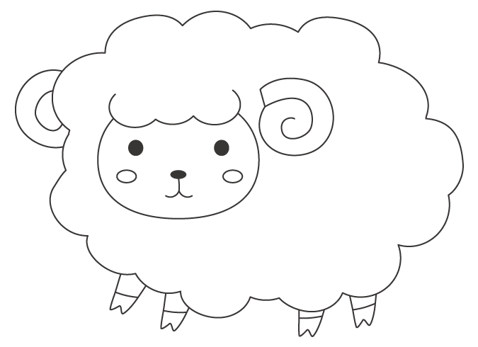 かわいいヒツジ(羊)のぬりえ