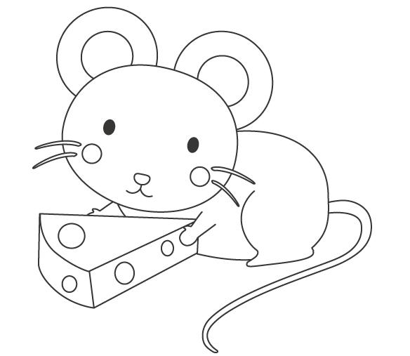 ネズミとチーズのぬりえ
