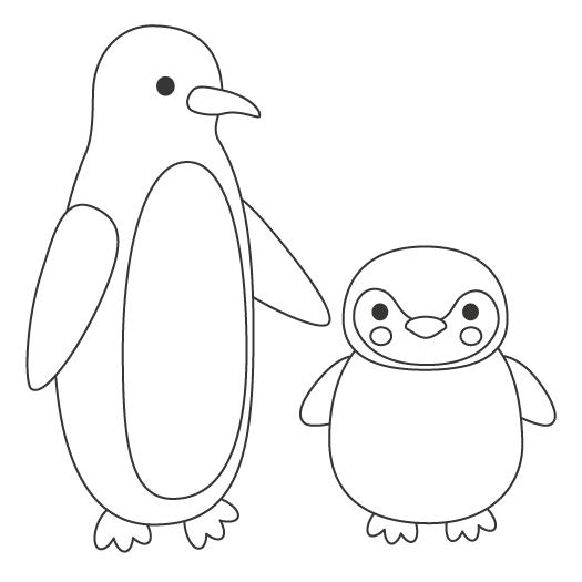 ペンギンの親子のぬりえ