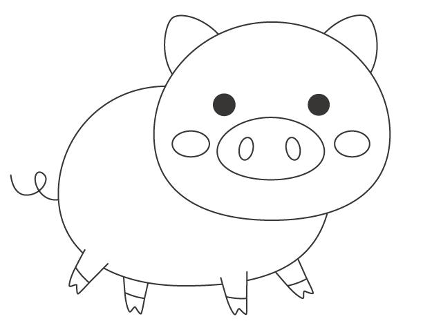 かわいいブタ(豚)のぬりえ