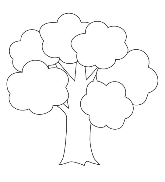 シンプルな木のぬりえ