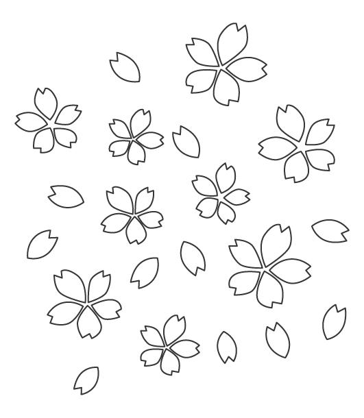 桜の花びらのぬりえ