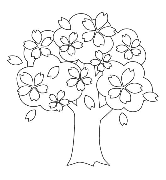 桜の木のぬりえ