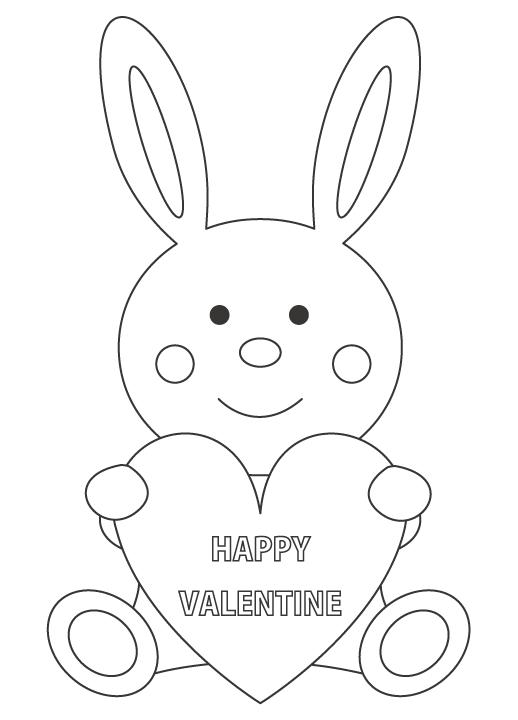 バレンタインとウサギのぬりえ