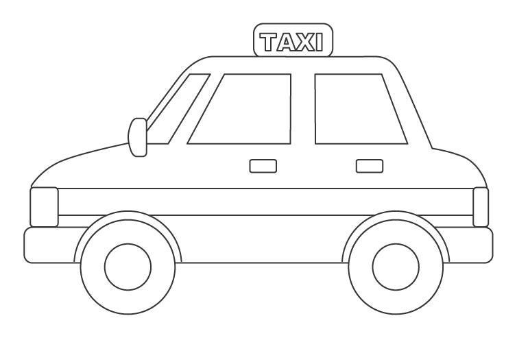 タクシーのぬりえ