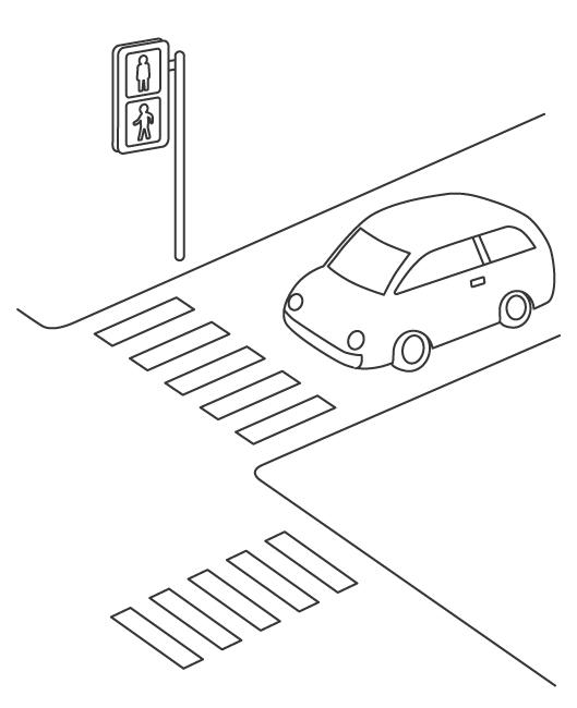 交差点と自動車のぬりえ