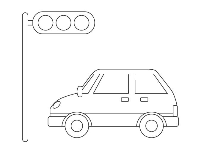 自動車と信号機のぬりえ