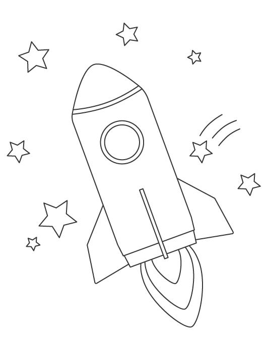 ロケットと星のぬりえ
