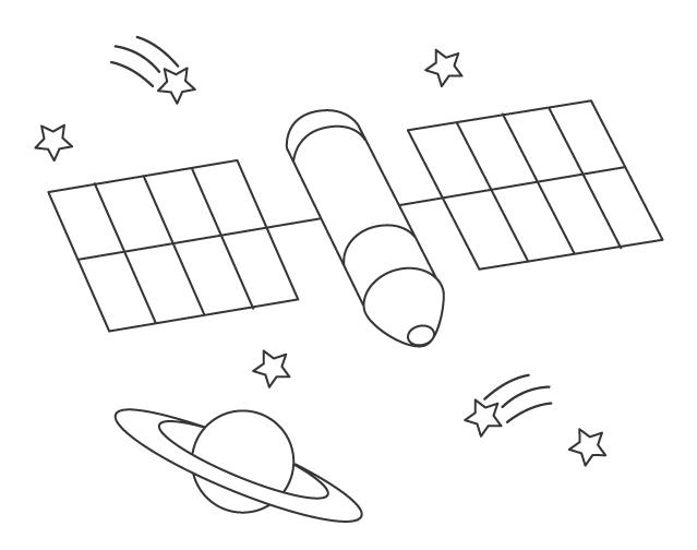 人工衛星のぬりえ