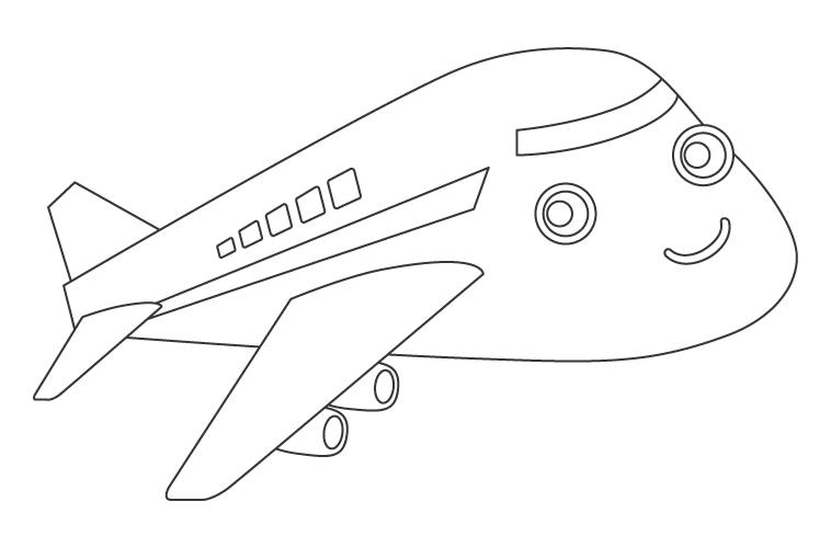かわいい飛行機のぬりえ