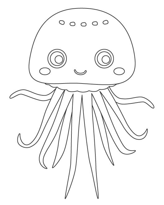 かわいいクラゲのぬりえ
