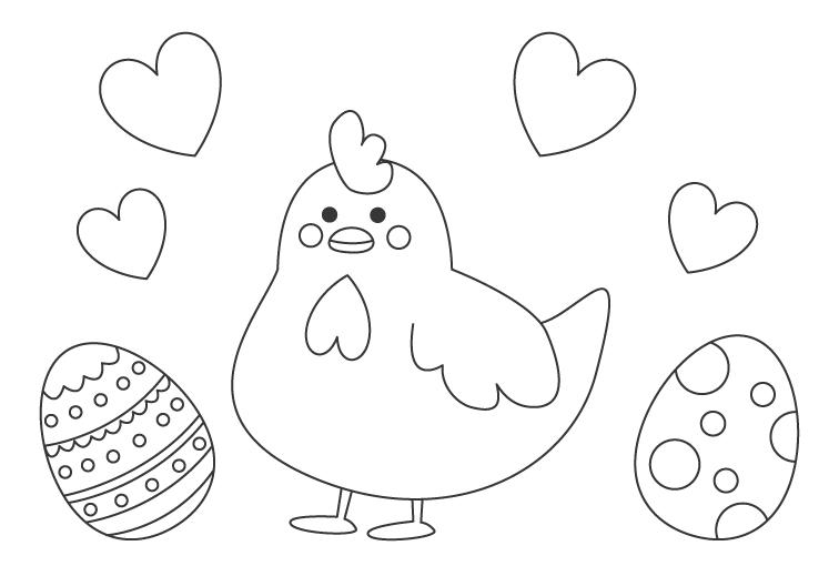 イースターエッグとかわいいニワトリのぬりえ