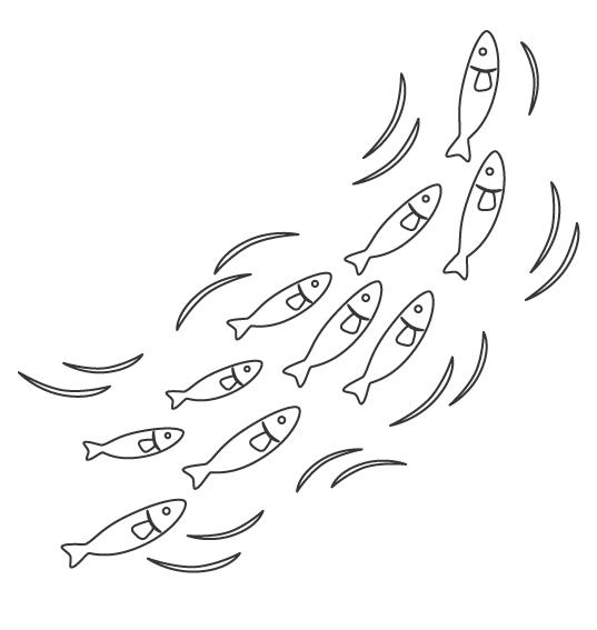 魚の群れのぬりえ