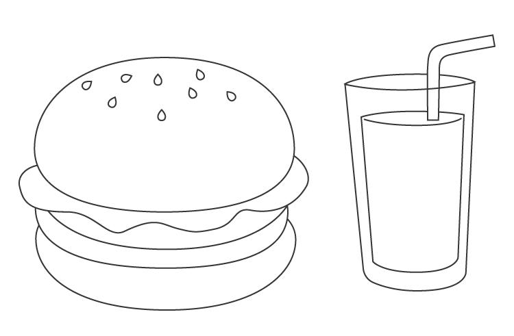 ハンバーガーとドリンクのぬりえ