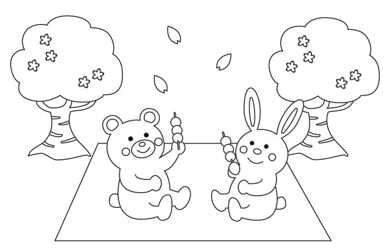 お花見をするかわいいクマとウサギのぬりえ