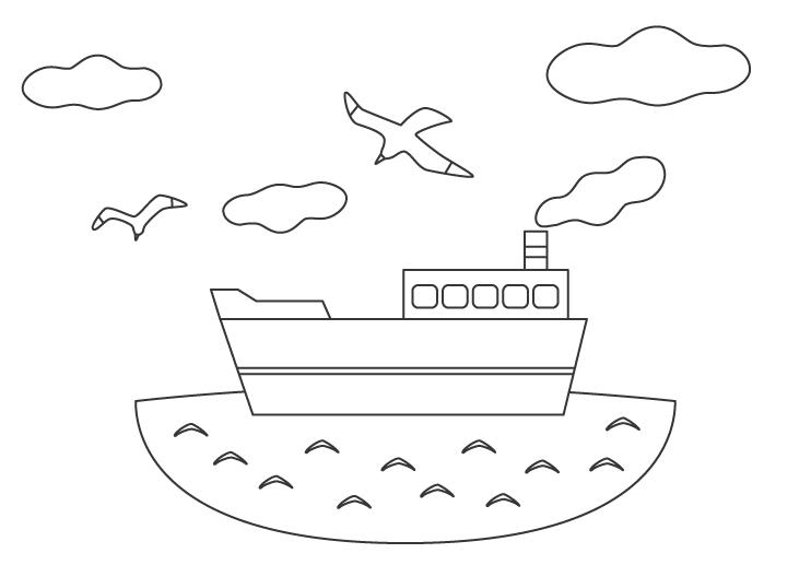 海と船のぬりえ