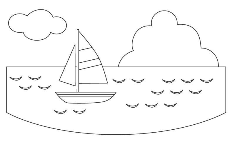 海とヨットのぬりえ