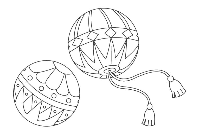 手毬(まり)のぬりえイラスト