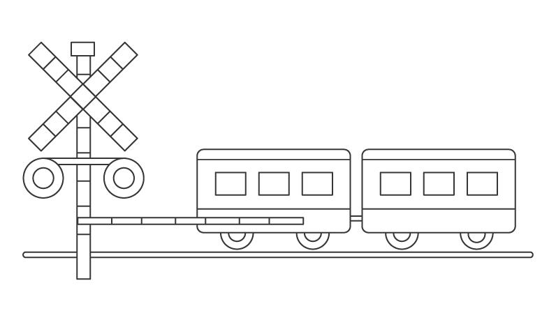 電車と踏み切りのぬりえ