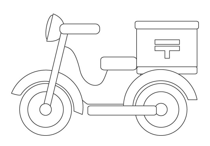 郵便のバイクのぬりえ