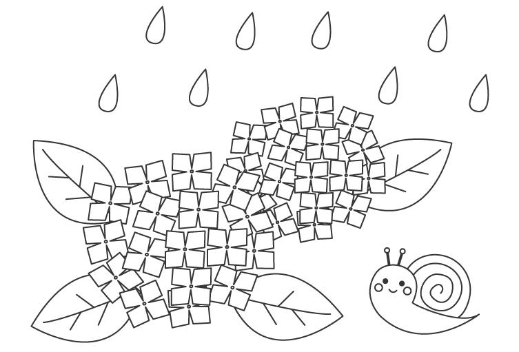 雨の日の紫陽花のぬりえ