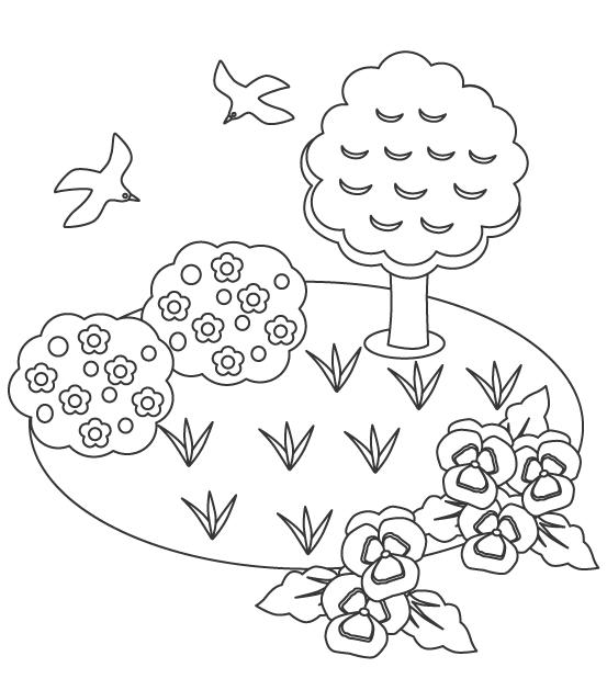 鳥と花・植物の風景のぬりえ