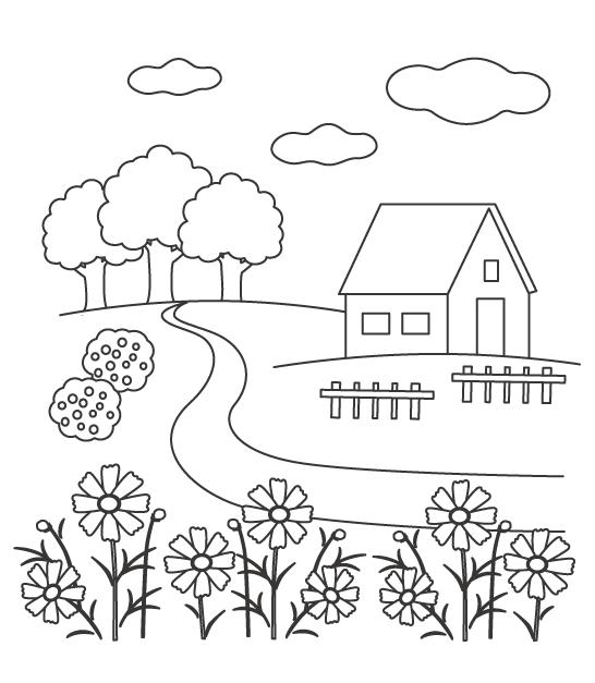 お家と花の風景のぬりえ