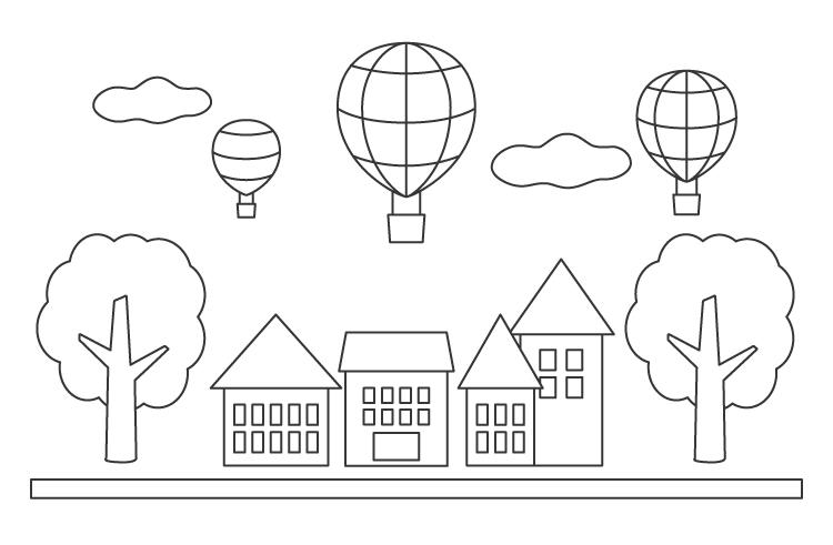 気球が飛んでいる風景と街並みのぬりえ