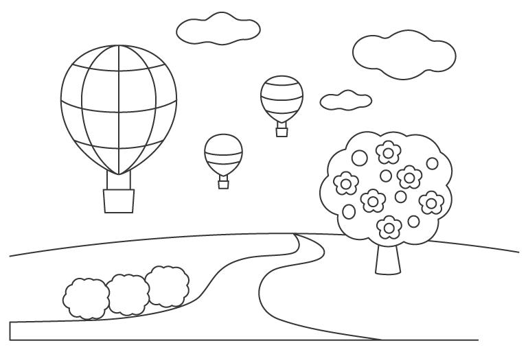 気球が飛んでいる風景のぬりえ