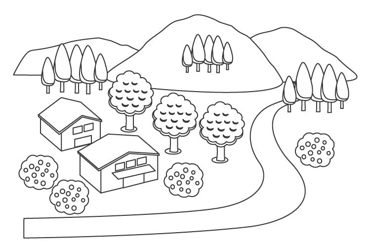 山と小川の田舎の風景のぬりえ