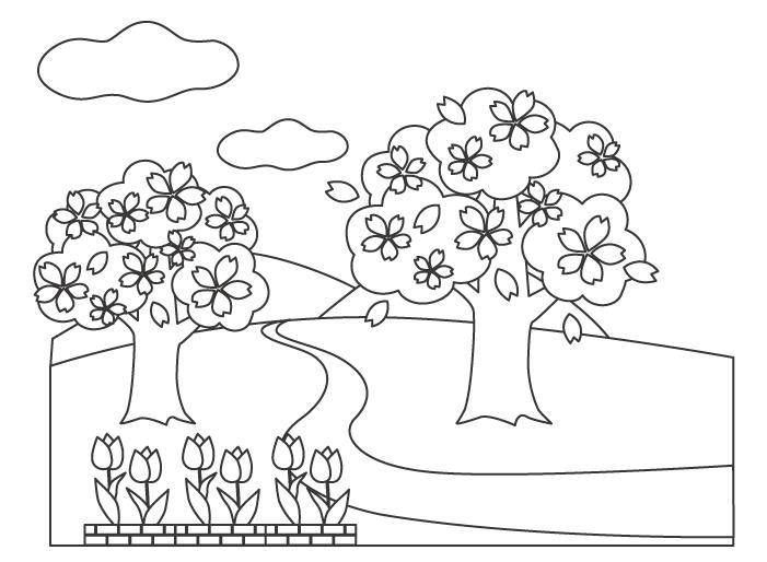桜とチューリップの春の風景のぬりえ