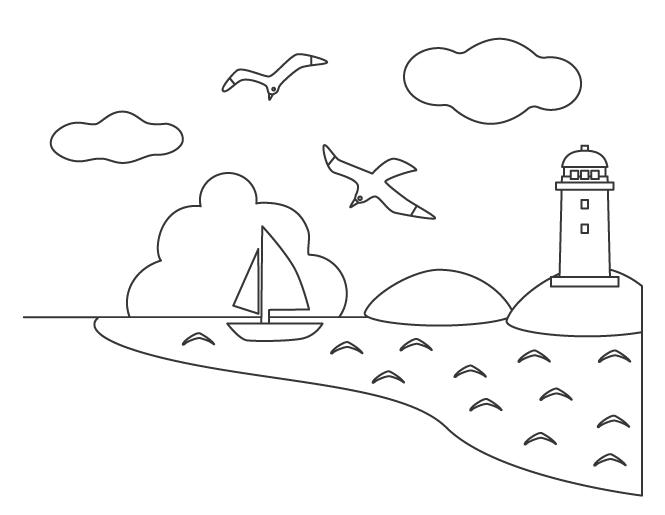 海と灯台のぬりえ